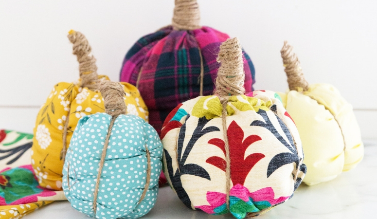 DIY No-Sew Fabric Pumpkins