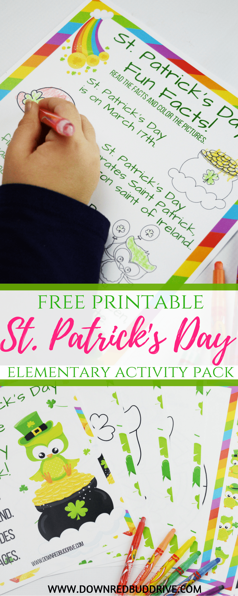 St. Patrick's Day Printable Activity Pack | Free Printables | Free Kids Printables | St. Patrick's Day Printable | Saint Patricks Day Printable | St Patricks Day Printable | Down Redbud Drive #stpatricksday #stpatricksdaykids #saintpatricksday