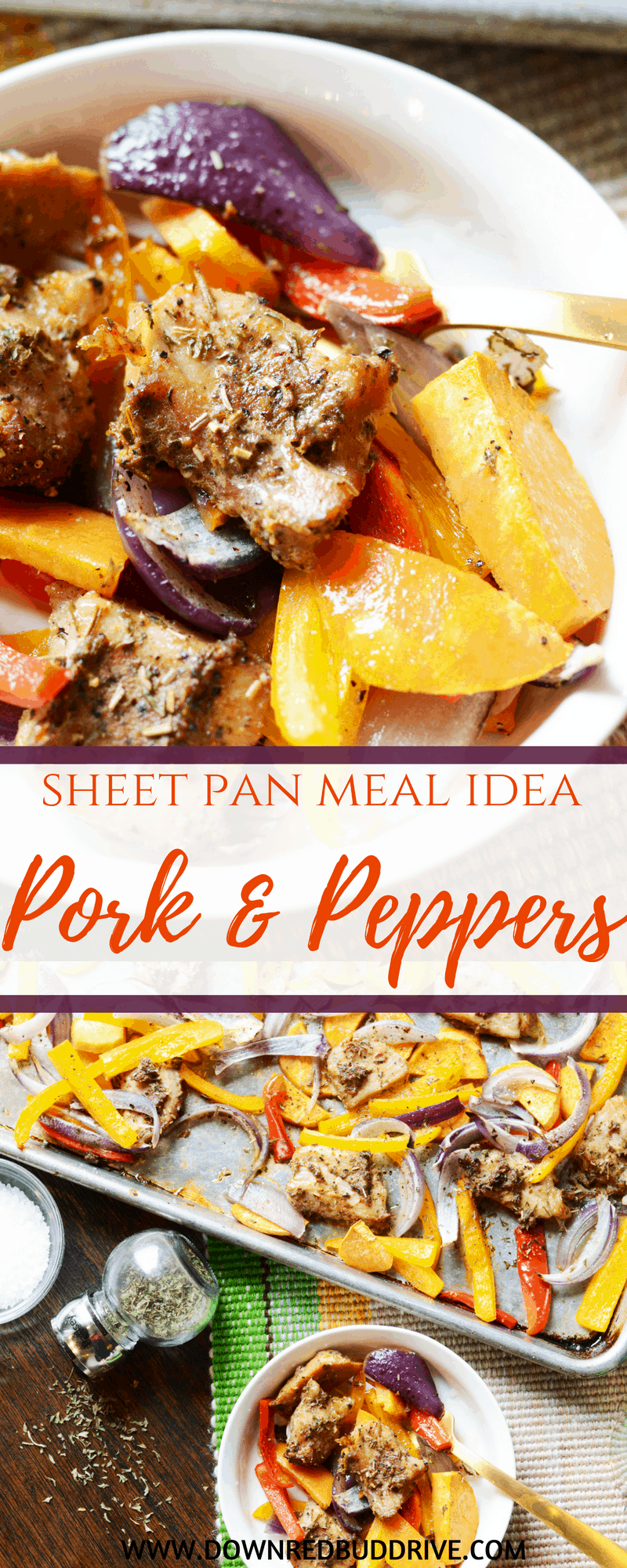Sheet Pan Pork and Peppers   One Pan Meal   One Pan Dinner   Sheet Pan Dinner   Pork Recipe   Pork Loin Recipe   Gluten Free Dinner   Low Carb Dinner Recipe   Healthy Dinner Recipe   Down Redbud Drive #ad #onepandinner #lowcarbrecipe #healthydinner #RealFlavorRealFast