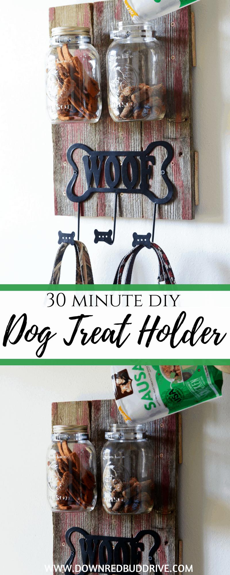 Dog Treat Holder | Dog DIY | Pet DIY | Dog Organizer | Pet Organization | DIY Leash Holder | Dogs | Down Redbud Drive | #dogdiy #petdiy #ad #NutrishRealMeatTreats #NutrishPets @NutrishForPets