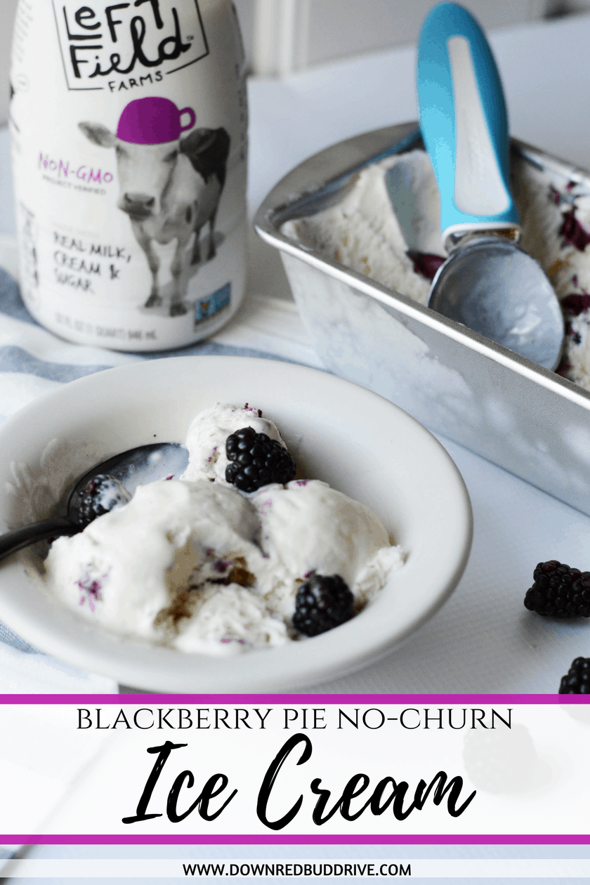 No Churn Ice Cream | Blackberry Ice Cream | Blackberry Pie Recipe | Blackberry Dessert Recipe | No Churn Vanilla Ice Cream Recipe | Ice Cream Recipe | Blackberry Pie Ice Cream | Down Redbud Drive #icecream #nochurnicecream #blackberry #ad #LeftFieldFarms @LeftFieldFarms