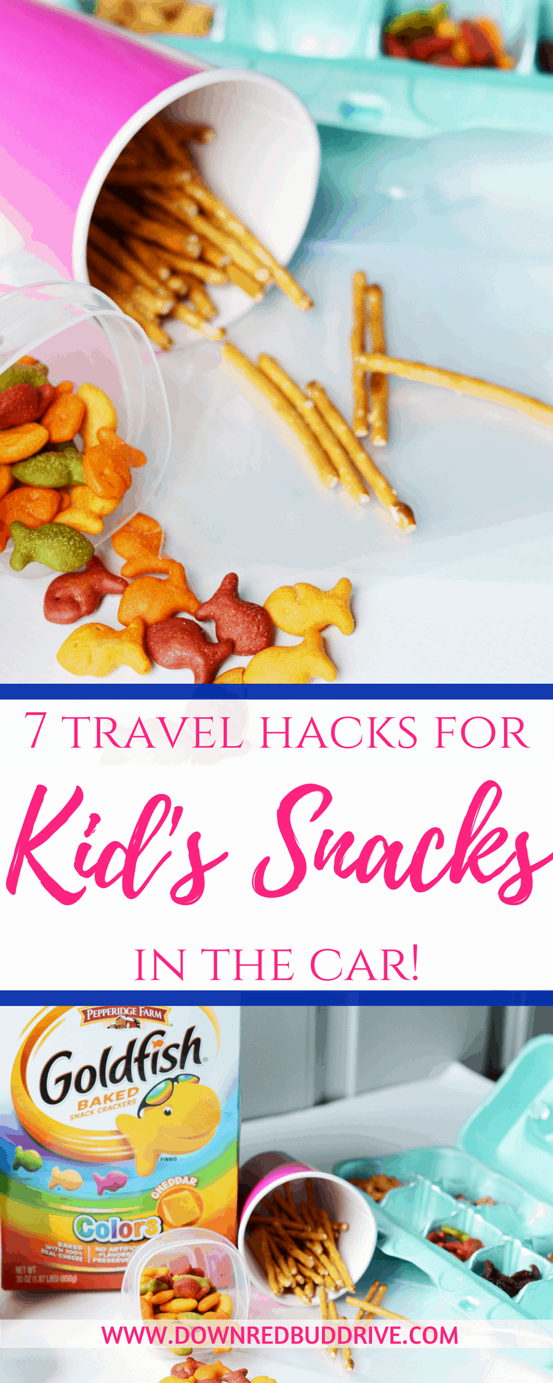 Kid's Snacks in the Car | Kid's Car Snacks | Roadtrip Hacks | Travel Hacks | Travel Snacks | Snacks in thr Car | Container Hacks | Down Redbud Drive #AD #GoldfishMoments #travelhacks @GoldfishSmiles