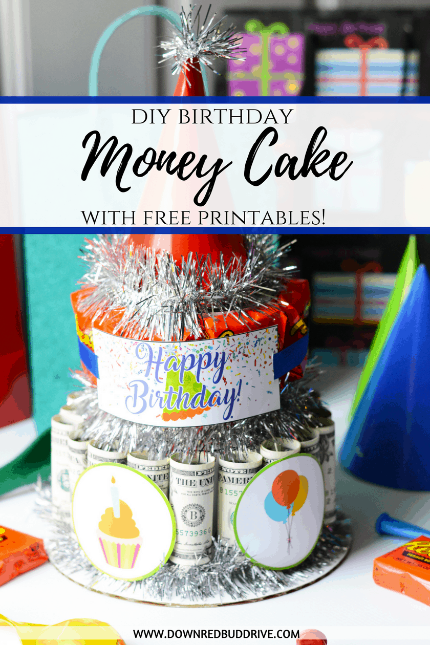 DIY Money Cake | How to make a Money Cake | DIY Birthday Gift | Money Cake | Creative way to gift money | Creative way to gift cash | Down Redbud Drive | #moneycake #giftidea #diygift