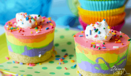 No Bake Rainbow Cheesecake