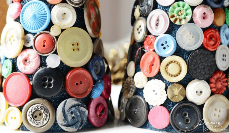 Button Trees Christmas Decor   Vintage Christmas DIY