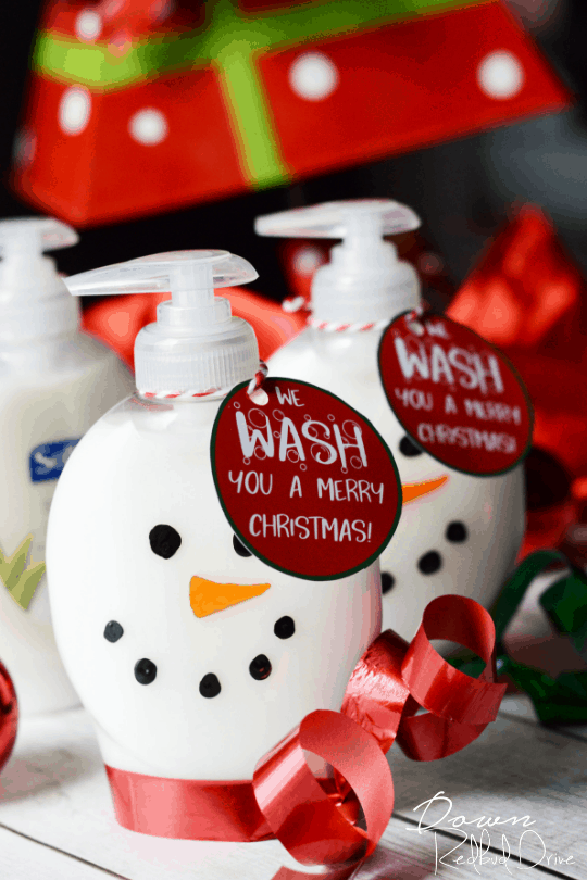 graphic about We Wash You a Merry Christmas Free Printable referred to as Snowman Cleaning soap Simple Do-it-yourself Xmas Present with Absolutely free Printable Tags