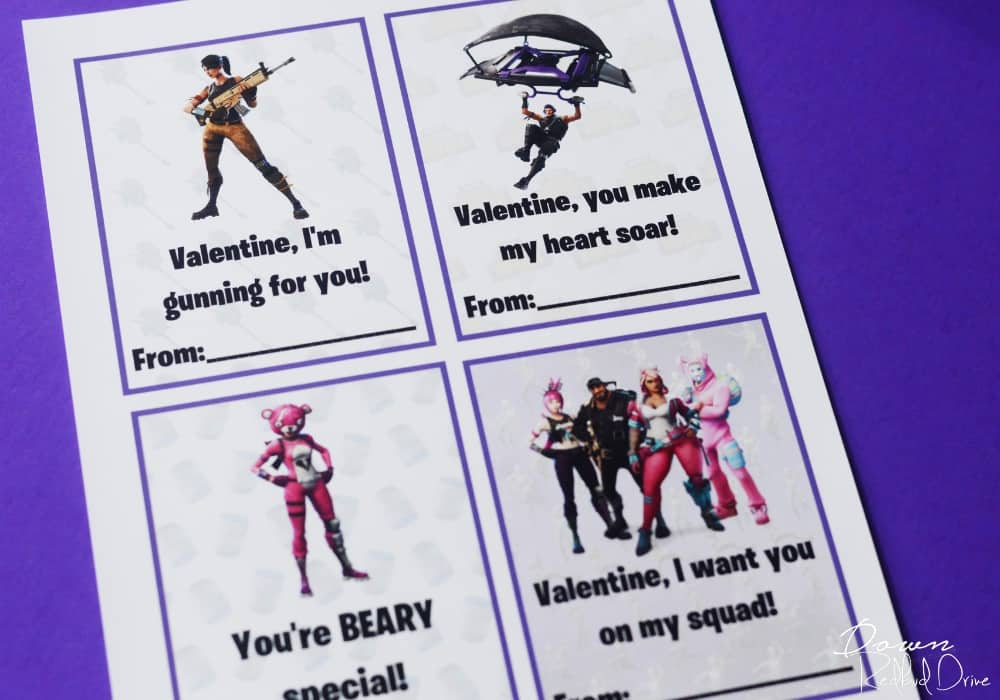 Printable Fortnite Valentines