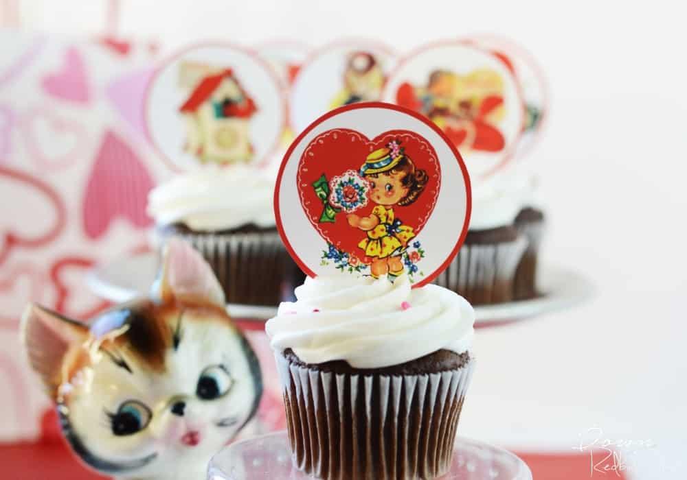 Vintage Valentine Cupcake Toppers