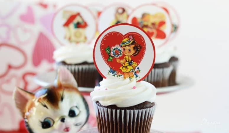 Vintage Valentine Cupcake Toppers | Free Printables