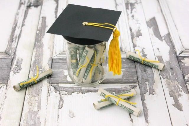 DIY Graduation Gift Idea! Graduation Cap Mason Jar Filled With Money Diplomas!