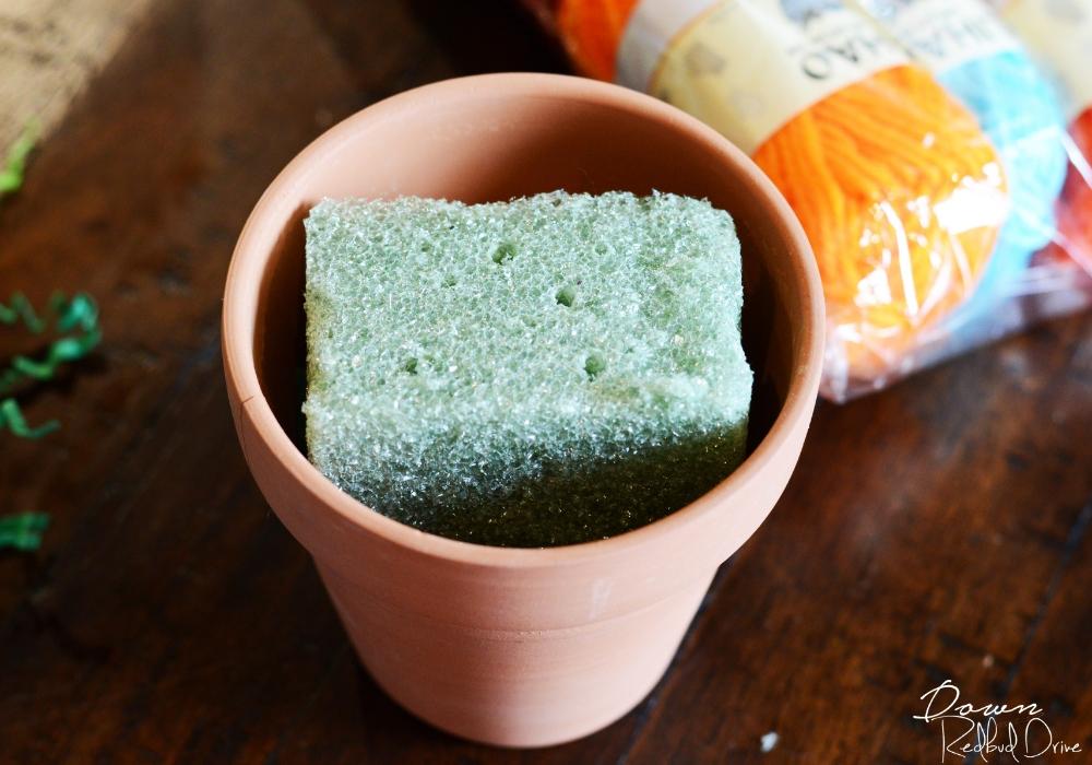 flower pot filled with foam