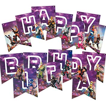 Purple Fortnite Birthday Banner