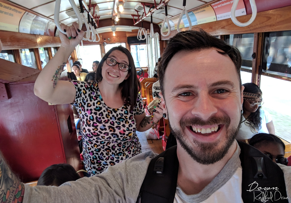 riding the m-line trolley in downtown dallas