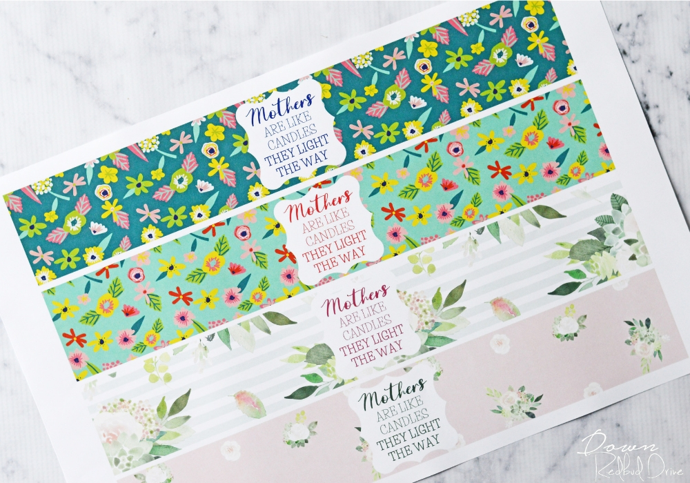 printable candle labels for mother's day