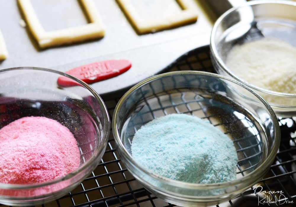 red white and blue candy powder for stained glass cookies