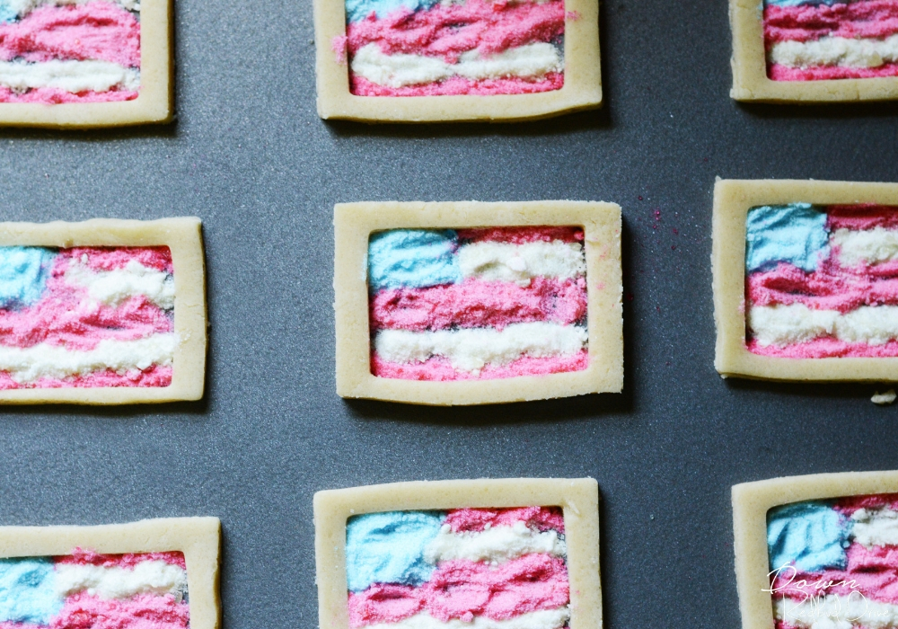 unbaked American Flag Stained Glass Cookies