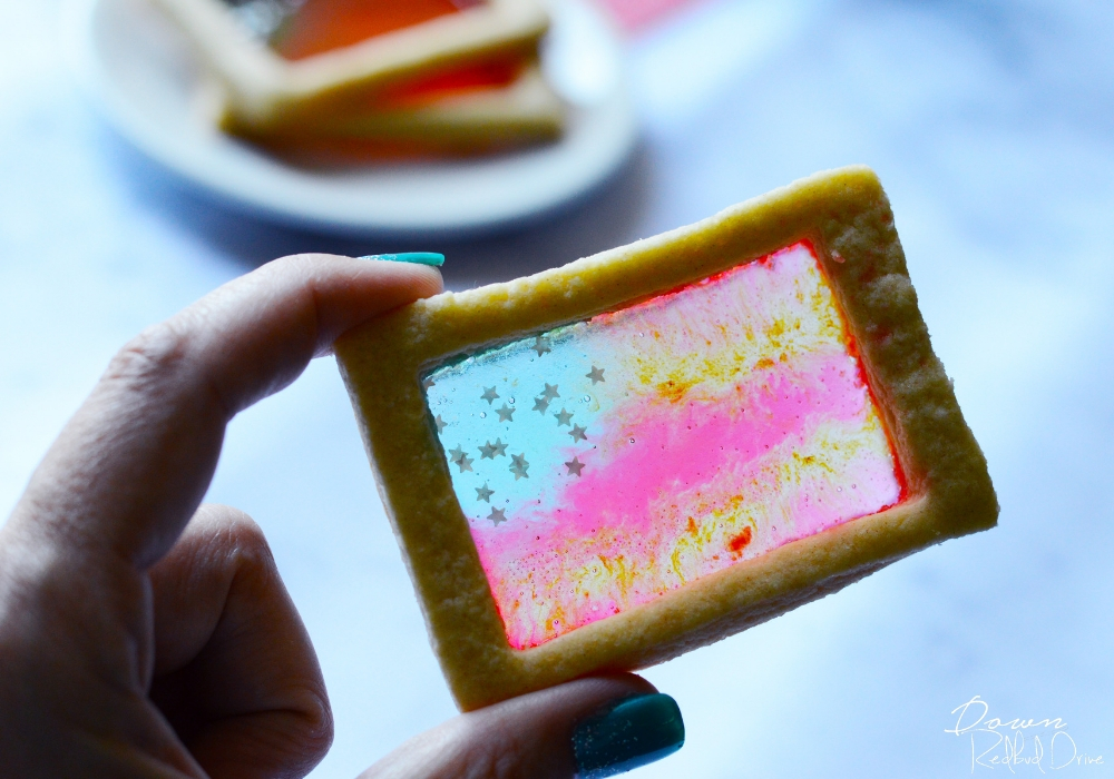 American Flag Stained Glass Cookies wide