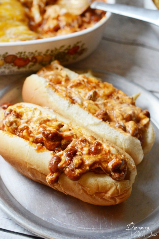 chili cheese dip on a hot dog