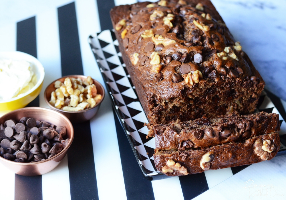 overhead of chocolate chip banana bread with walnuts