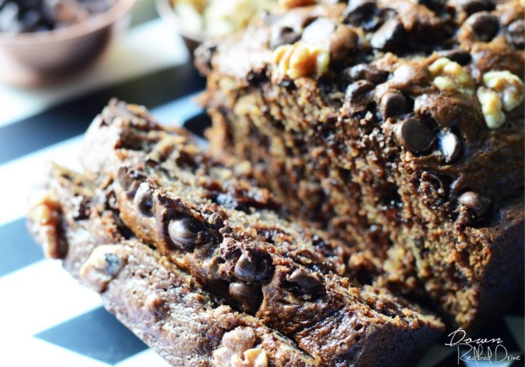 chocolate chip banana bread up close sliced