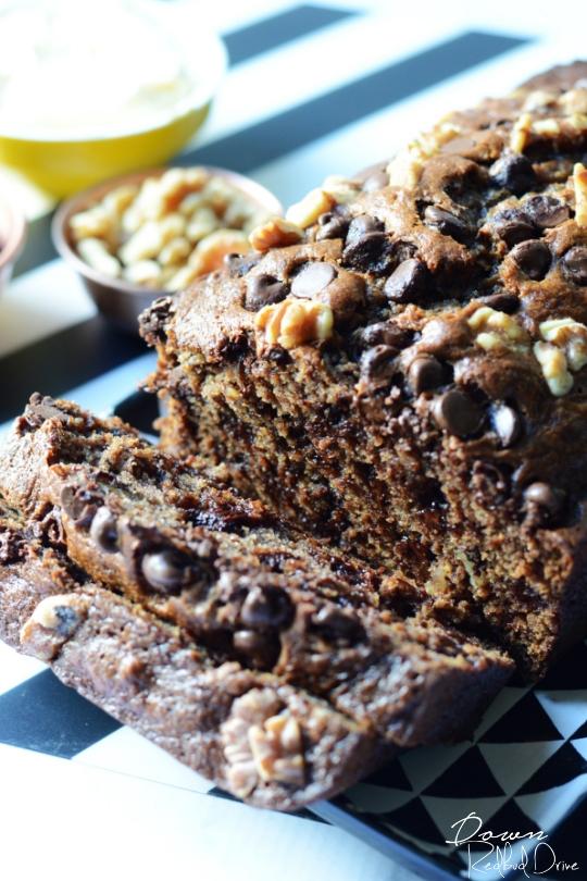 chocolate chip banana bread sliced
