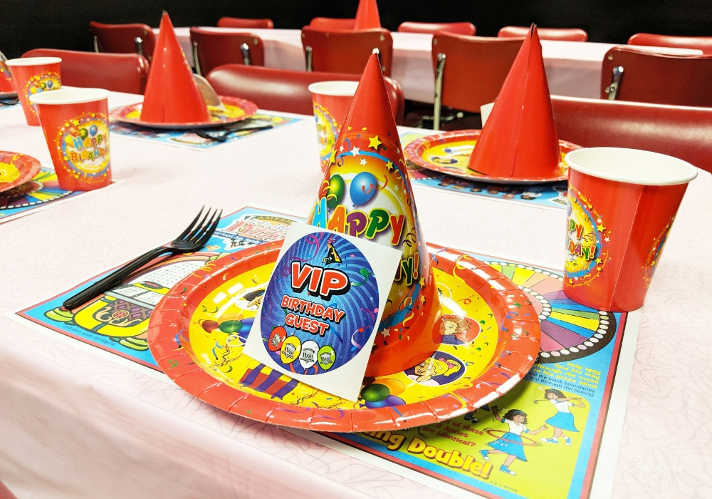 VIP birthday party table setting at Incredible Pizza Company