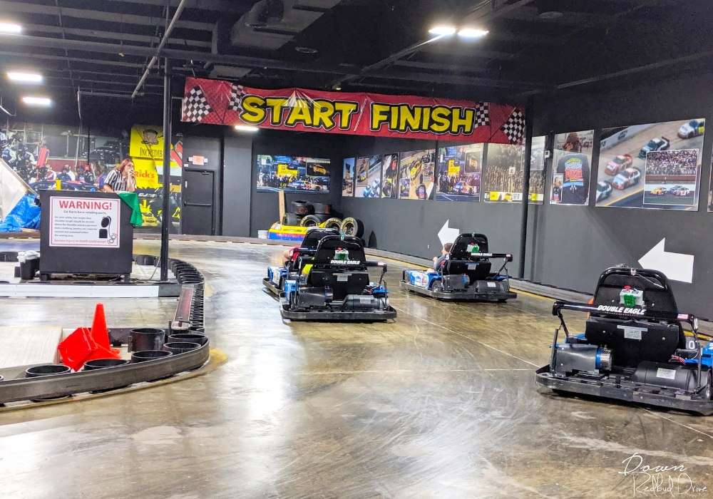 go cart race at incredible pizza company