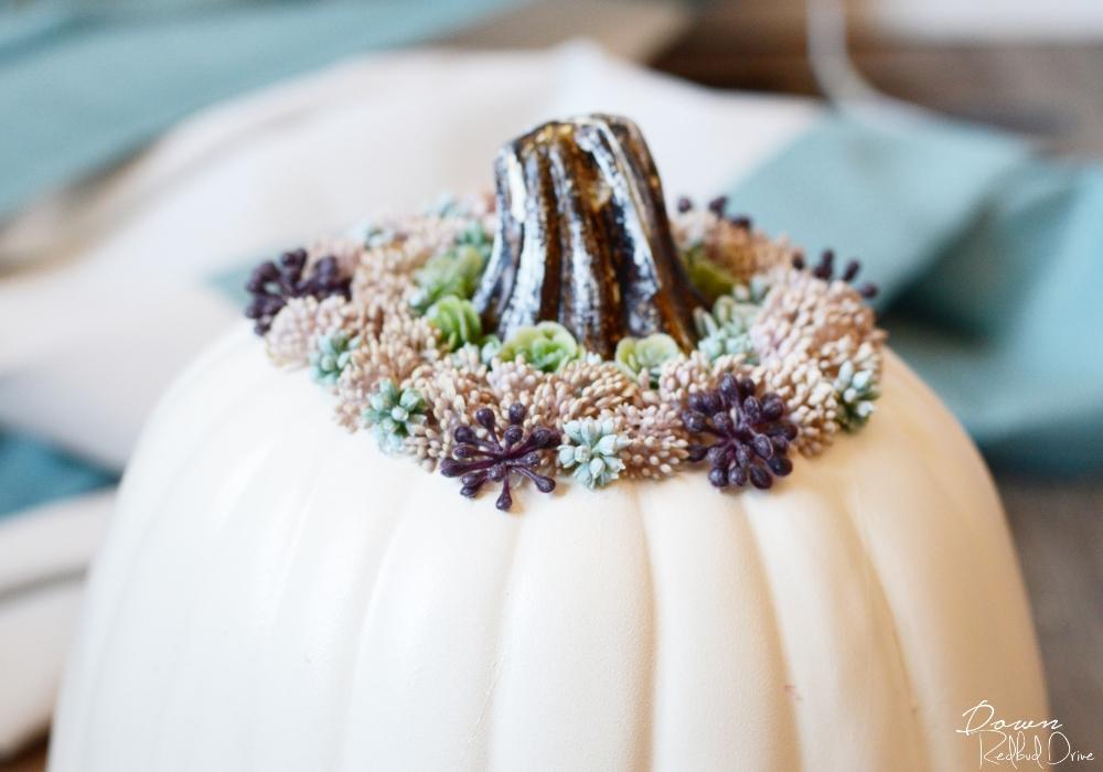 white floral pumpkin