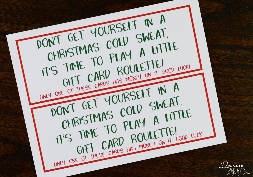 gift card roulette sign printable