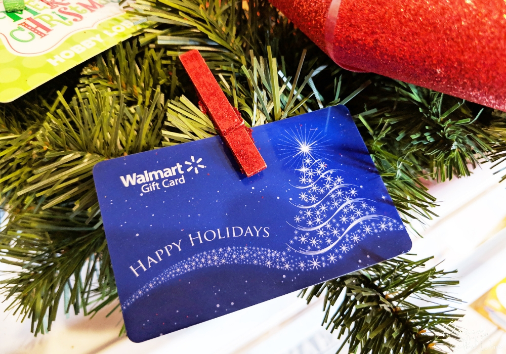 walmart gift card clipped to a wreath