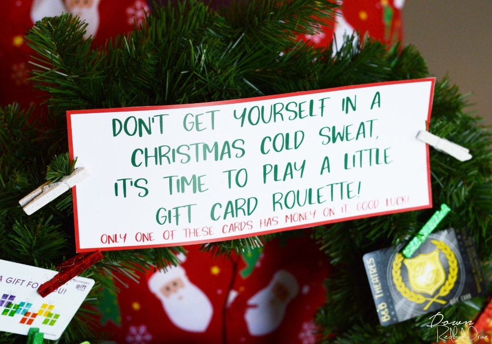 gift card roulette sign attached to a wreath