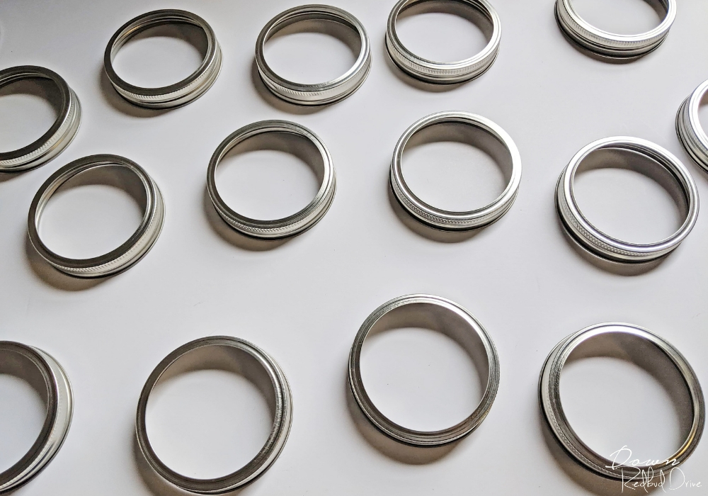 mason jar lid rings on a white background