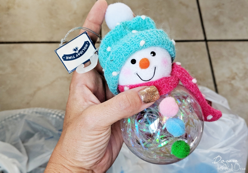 pink and blue snowman ornament