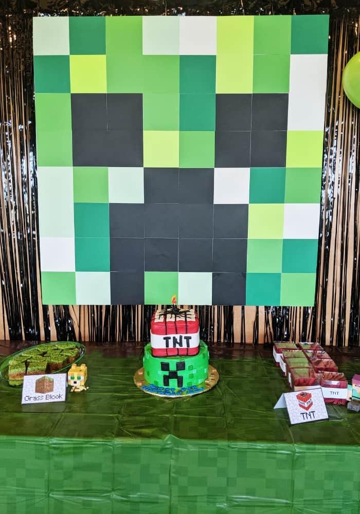 Minecraft Birthday party set up