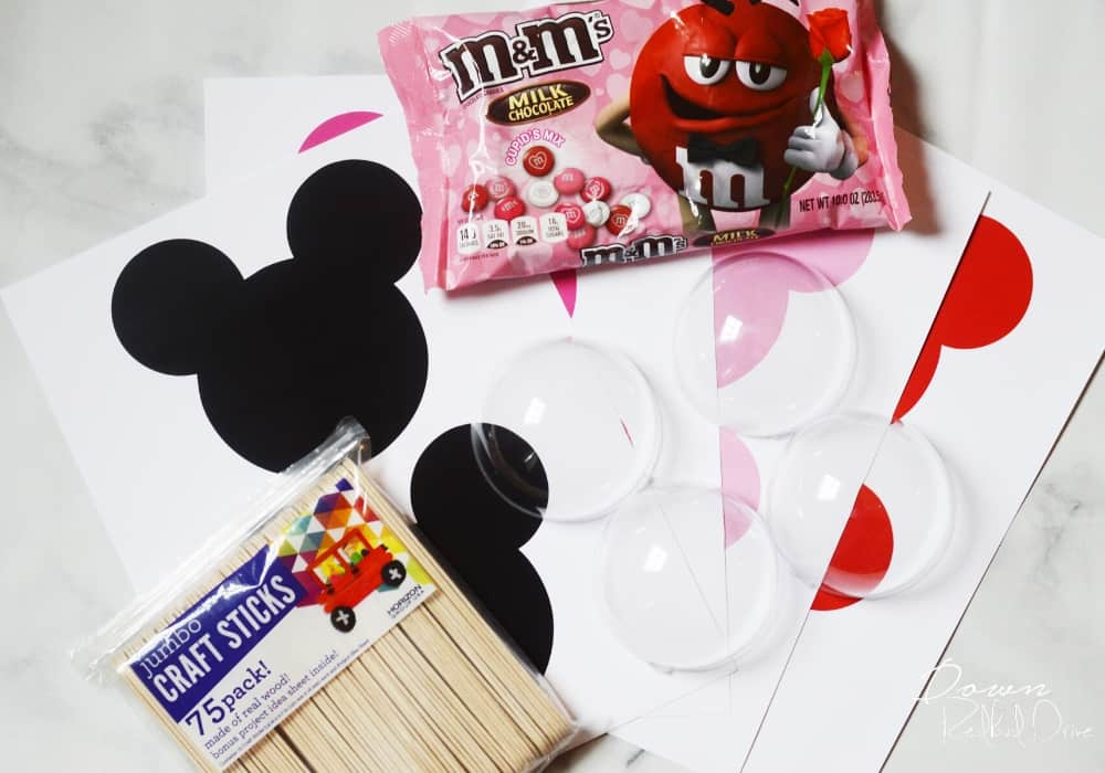supplies for making Mickey pop valentines
