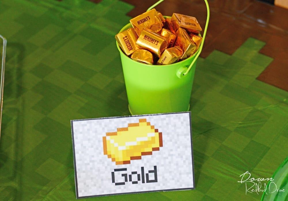 minecraft gold birthday party food idea