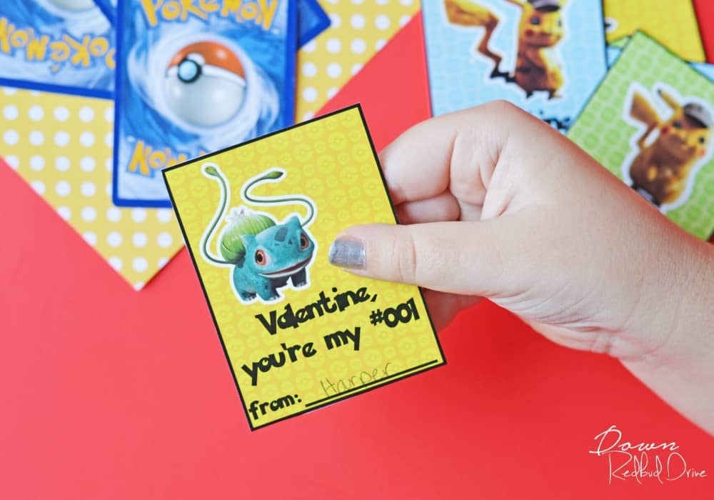 hand holding a Bulbasaur Valentine