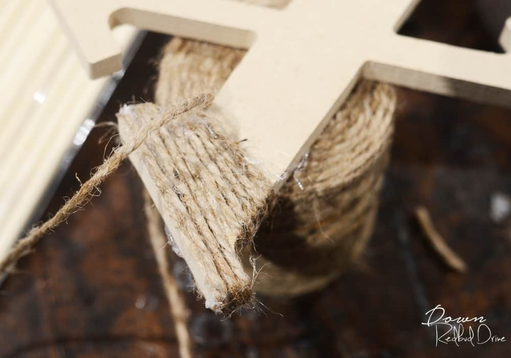 wrapping twine on an x