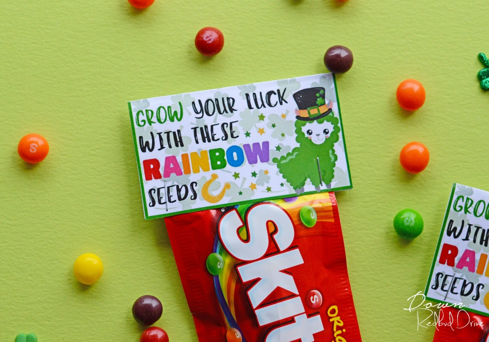 Rainbow Seeds Skittles package on a green background surrounded by loose Skittles