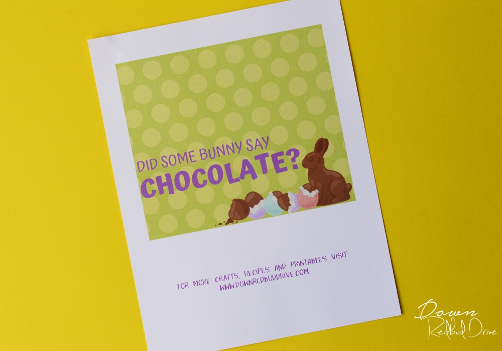 Did Some Bunny Say Chocolate printable label on a yellow background