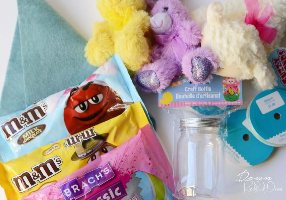 supplies for making easter candy jars