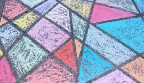 sidewalk chalk mosaic