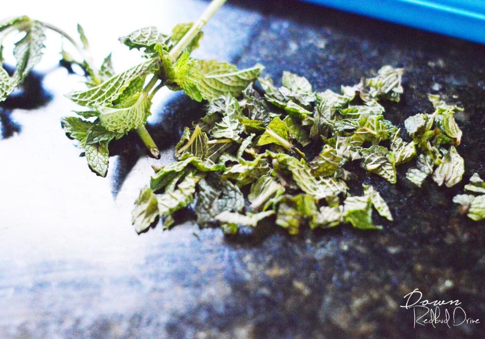 crushed fresh mint on a dark granite background