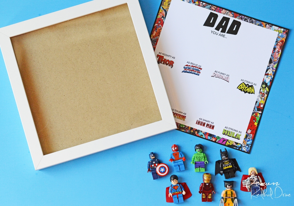 supplies for Father's Day Superhero Shadowbox