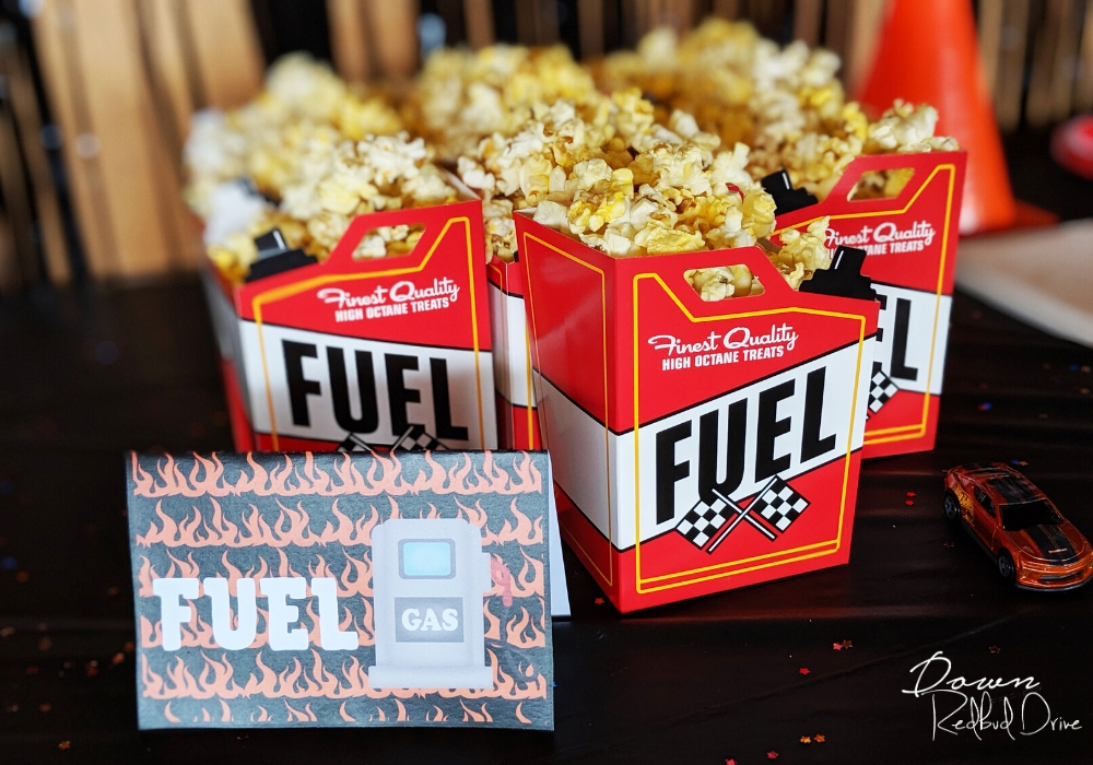 popcorn in serving containers that look like fuel cans