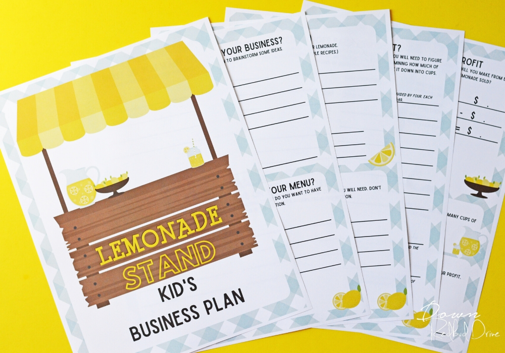 Kid's Lemonade Stand Business Plan printable