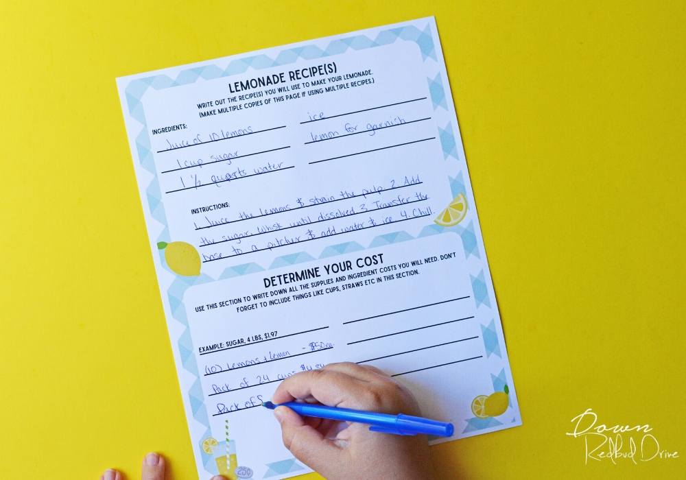 Kid's Lemonade Stand Business Plan printable sheet