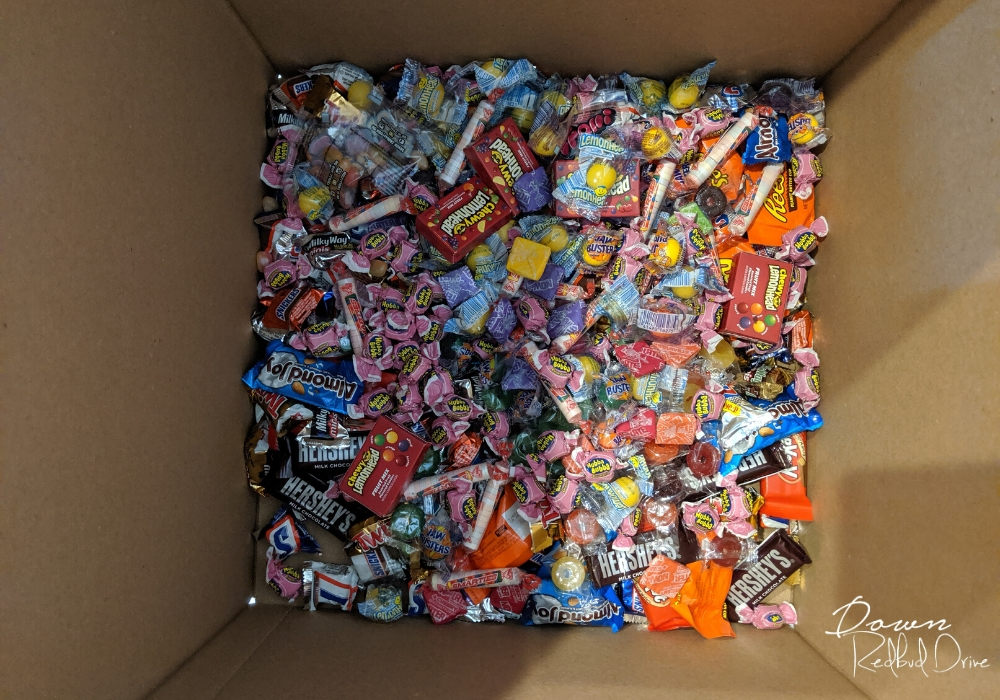 candy assortment in the bottom of a box