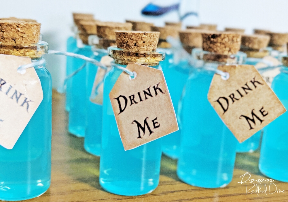 small glass drink me bottles with drink me tags