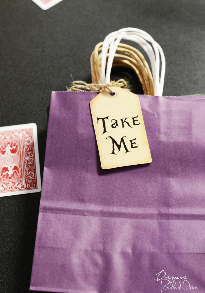 alice in wonderland birthday party favors take me bags